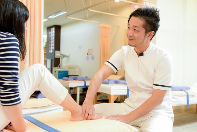 痛み、足の状態を確認